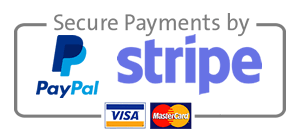 secure payments processed by Paypal and stripe
